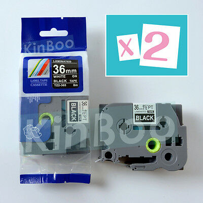 2 Pack Tape Label Compatible for Brother P-Touch TZ TZe 365 White on Black 36mm