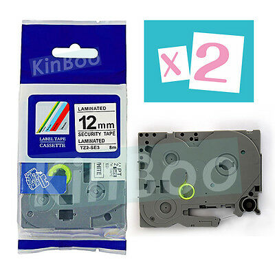 2 Pk Tape Compatible for Brother P-Touch TZ TZe SE3 Black on White Security 12mm
