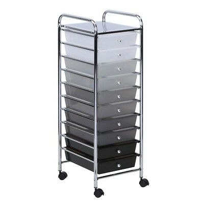 Rolling Storage Cart 10 Easy Access Drawers Smooth Locking Casters Chrome Frame