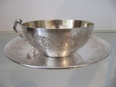 1900 french sterling silver tea cup art nouveau 181g 6,38oz lily of the valley