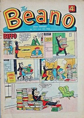 BEANO - 15th JUNE 1968 + PUPPET FEATURE - RARE & COLLECTABLE !!....beezer topper