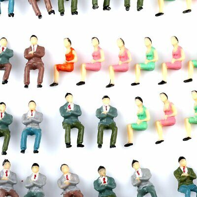 Pack/50pcs 1:50 O Scale Painted Model Train Seated Figures People All Sitting