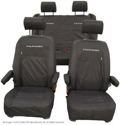 VW California Front And Rear Inka Fully Tailored Waterproof Seat Covers Black
