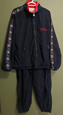 fa86a0f819be VTG 90's FILA Blue/Red Full Two-Piece Tracksuit Embroidered Sleeve Stripe  ...