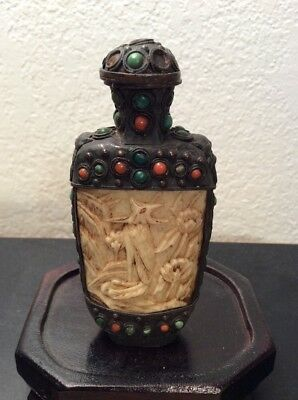 Antique Tibetan 19th Century Bovine Bone Snuff Bottle