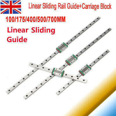 Miniature Sliding Block Linear Guide Rail set 100/175/400/500/700mm CNC Tool
