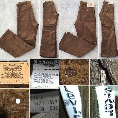 Vintage Levi's 517 1529 Corduroy Pants Made In USA 70s 36 32 Measure 35 X 31 1/4