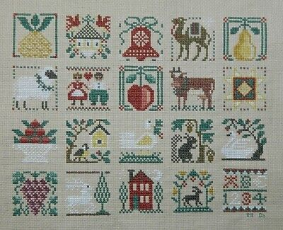20 Block  Needle Point Sampler    Signed and Dated