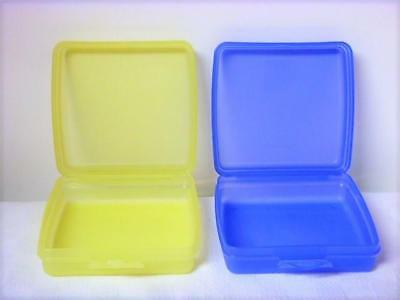 Tupperware 2 Square Clamshell Sandwich Keepers sheer Pastel Yellow & Blue