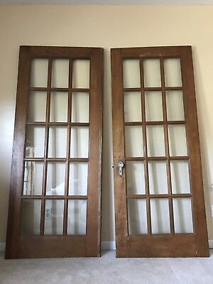 Two, wooden, framed French doors