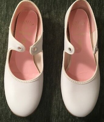 Girls Capezio White Matte Tap Dance Shoes, Dancemaker -Size 13