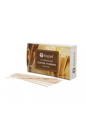 10 KingSeal Natural Birch Wood Coffee Beverage Stirrers, Round End - 7.5 Inches