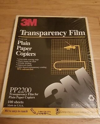 3M Transparency Film PP2950 for High Temperature Copiers 100 Sheets 8.5 x 11
