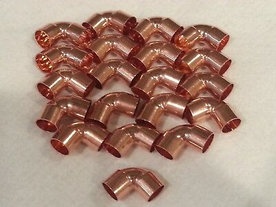 "1/2"" Copper 90 Degree Elbow Sweat Solder Pressure Fitting  New 20 Pack"
