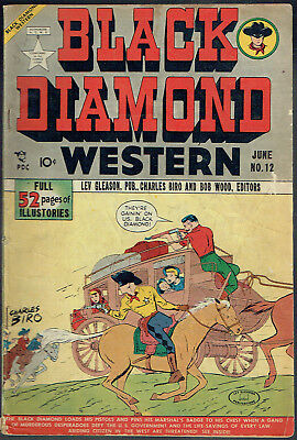 BLACK DIAMOND WESTERN  12  VG-/3.5  -  Rare old Lev Gleason from 1949!