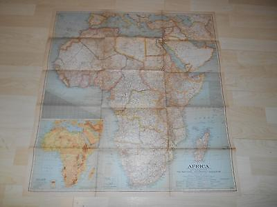 """Old Vtg 1943 AFRICA WALL MAP 29 1/2""""x 31"""" Hanging Decor"""