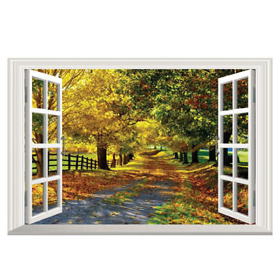 Large Maple Boulevard 3D Window View Removable Wall Art Sticker Decal Home  O7L8