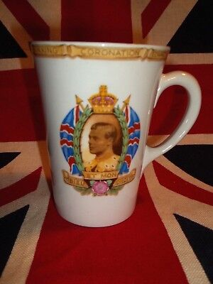 "1937 Shelley China Coronation Hrh King Edward Viii Tall 4 1/8"" Mug / Cup"