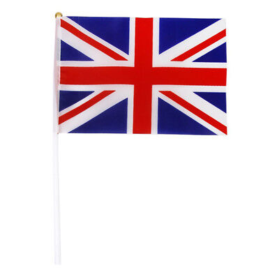 Hand Waving Union Jack Flags Plastic Poles 21 x 14cm Pack of 12 Red + white Z6S7