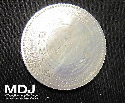 """Chinese Mother of Pearl Gaming Token Counter """"Lady Serving Tea"""" China"""