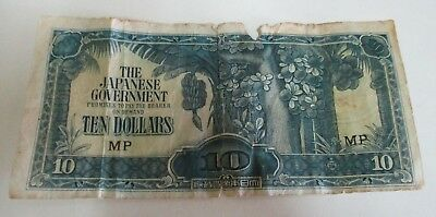 1944 Japanese Government - World War Two - Ten Dollar Note - MP - Circulated
