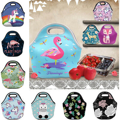 Girls Boys Kids Lunch Bag Zip Neoprene Thermal Insulated Cooler Carry Bag Tote