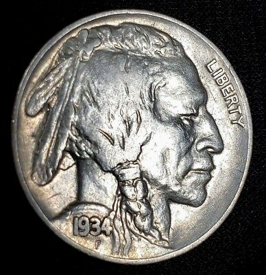 1934-P Buffalo Nickel US 5 Cent Coin **