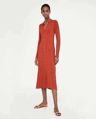 54ccb23b ZARA NEW RIBBED Dress With Polo Collar Knit Long Brick S,M,L Ref ...