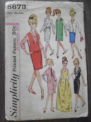 VINTAGE DOLL CLOTHES Sewing Pattern Barbie Tina Gina 1964 Evening ...