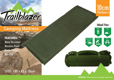 Self Inflating Luxury Suede Mattress Inflatable Camping Hiking Mat In Green