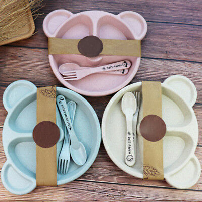 3x Cute Cartoon Wheat straw Plastic Baby Kids Plate Bowl Fork Spoon Feeding Set