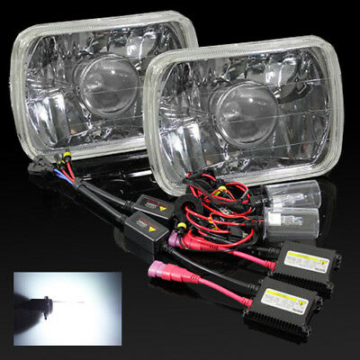2X 7x6 H6054 Chrome Sealed Beam Projector Headlight H4 6000K HID DBK Kit A NEW