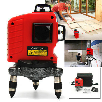 3D Laser Level 12 Line 360° Rotary Auto Self Leveling Outdoor Cross Measure Tool