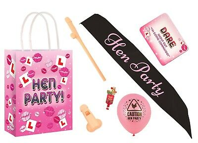 Hen Night Party Gift Bags Pre Filled, Balloon, Sash, Straw, Dare Cards, Popper