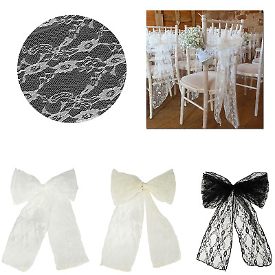 Lace Chair Sash Bow Tie Fabric DIY Vintage Style Wedding Event Craft Decoration