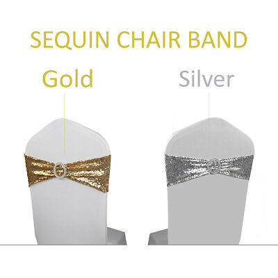 Lycra Sequin Chair Band Stretch with Round Buckle Banquet Wedding Party 15x70cm
