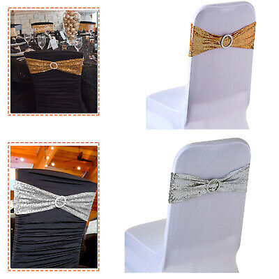 15x70cm Lycra Sequin Chair Bands Stretch Round Buckle Banquet Party Decoration