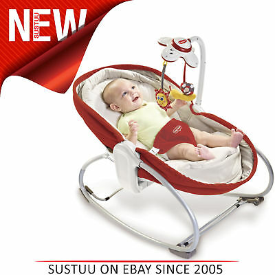 Tiny Love 3-in-1 Rocker Napper Rot Creme │ Musikalisches Spielzeug,Hell & Weich