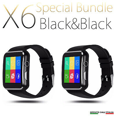 SMARTWATCH X6 OROLOGIO iPhone  ANDROID IOS CON SIM BLUETOOTH SMART WATCH B&W