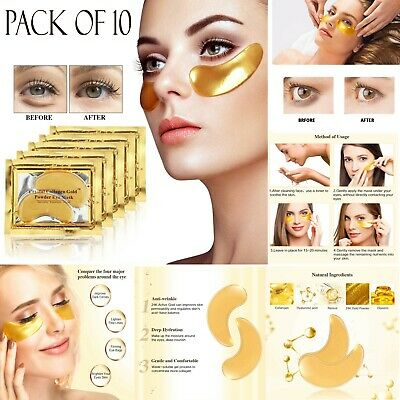 10 Pair Crystal Collagen 24k Gold Under Eye Gel Pad Face Mask Wrinkle Anti Aging