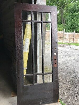MAR 208Antique oak beveled glass entrance door 35.75 x 84