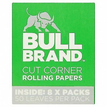 Bull Brand Green Cut Corner Rolling Papers - Genuine - 25 50 100 Booklets Cheap