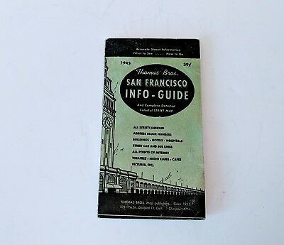 Old 39¢ 1945 San Francisco County Thomas Bros Info Guide W Big Color Map