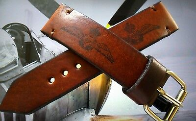 RAF pilot vintage military leather watch strap brown 16,17, 18, 19, 20, 22, 24