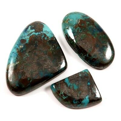 111.55cts Natural Gemstone Iron Azurite Mix Cabochon 3 Pcs Wholesale Lot