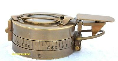 BRASS ANTIQUE MILITARY ENGINEERING COMPASS PRISMATIC VINTAGE Collectible