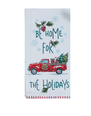 Truck, Tree BE HOME FOR THE HOLIDAYS Christmas Krinkle Flour Sack Kitchen Towel