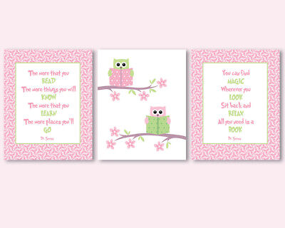 3 prints, art for girl's room, nursery with owls, Dr Seuss quotes about reading