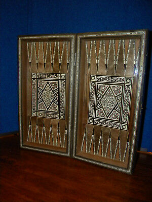 Vintage Inlaid Wood Mother of Pearl Folding Box Case Marquetry Chess Backgammon