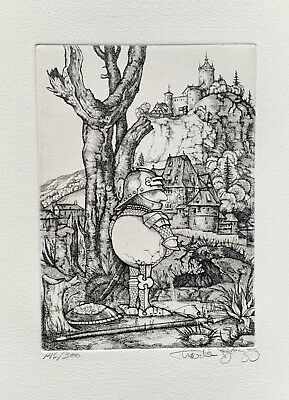 """CHARLES BRAGG """"PISSING"""" Hand Signed Limited Edition Etching CAMELOT SERIES"""